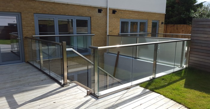 Composite decking with glass balustrade